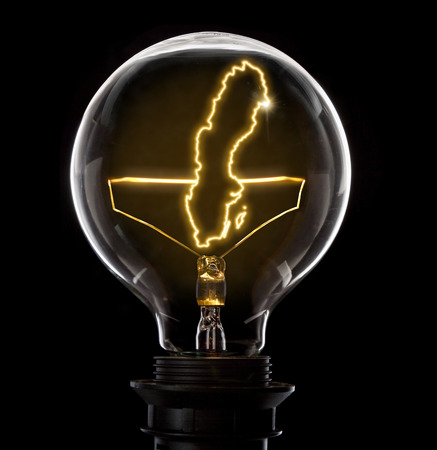 Clean and shiny lightbulb with Sweden as a glowing wire.(series)