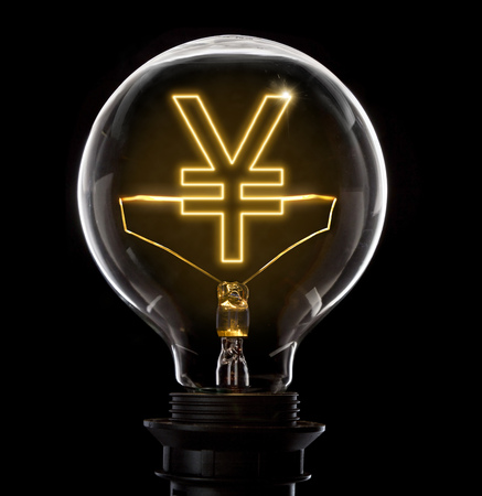 Clean and shiny lightbulb with a Yen or Yuan symbol as a glowing wire.(series)