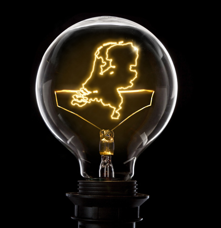 Clean and shiny lightbulb with Netherlands as a glowing wire.(series)