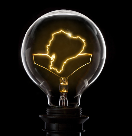 Clean and shiny lightbulb with Ecuador as a glowing wire.(series) Stock Photo