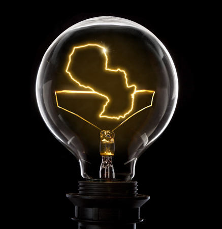 Clean and shiny lightbulb with Paraguay as a glowing wire.(series)