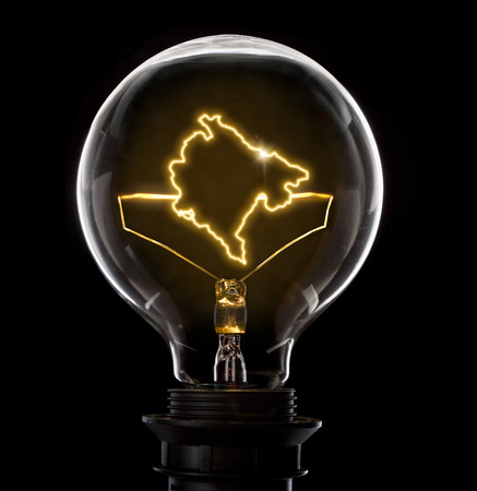 Clean and shiny lightbulb with Montenegro as a glowing wire.(series) Stock Photo