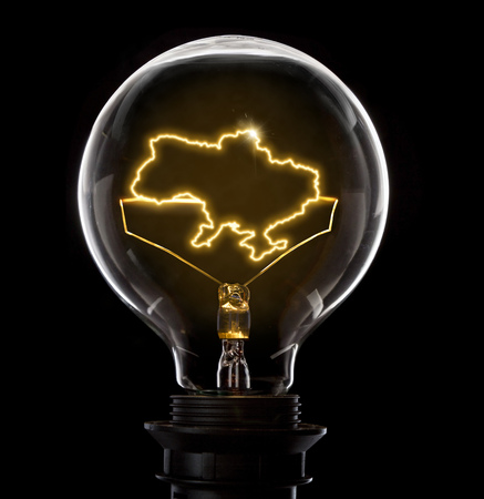 Clean and shiny lightbulb with Ukraine as a glowing wire.(series) Stock Photo