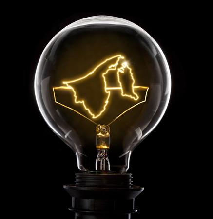 Clean and shiny lightbulb with Brunei as a glowing wire.(series) Stock Photo