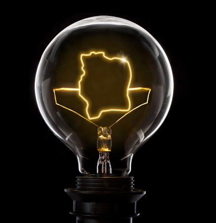 Clean and shiny lightbulb with Ivory Coast as a glowing wire.(series) Stock Photo