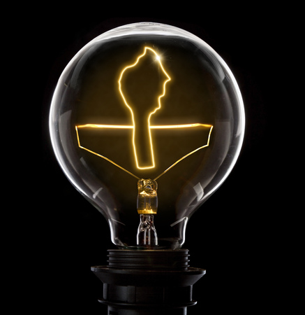 Clean and shiny lightbulb with Benin as a glowing wire.(series)