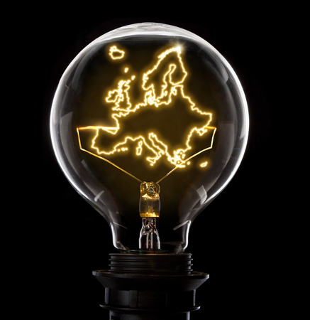 Clean and shiny lightbulb with Europe as a glowing wire.(series)
