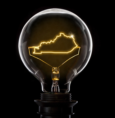 Clean and shiny lightbulb with Kentucky as a glowing wire.(series) Imagens - 70726162