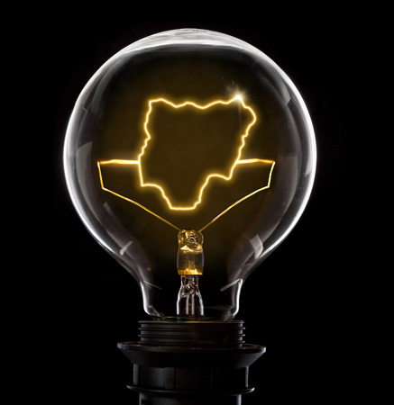 Clean and shiny lightbulb with Nigeria as a glowing wire.(series)