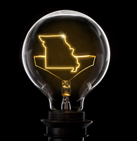 Clean and shiny lightbulb with Missouri as a glowing wire.(series)
