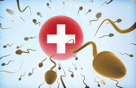 migrating cell: Emigration concept illustration: Sperms of different colors (for different races) swimming away from an egg cell with the flag of Switzerland.(series) Stock Photo