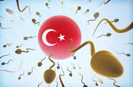 Emigration concept illustration: Sperms of different colors (for different races) swimming away from an egg cell with the flag of Turkey.(series)