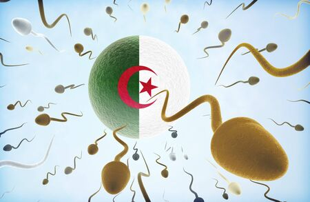 Emigration concept illustration: Sperms of different colors (for different races) swimming away from an egg cell with the flag of Algeria.(series)