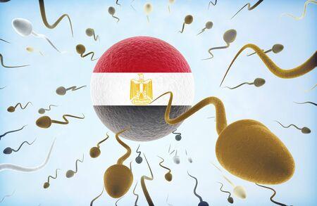 bandera de egipto: La emigración concepto de ilustración: Los espermatozoides de diferentes colores (para diferentes razas) nadando lejos de un óvulo con la bandera de Egipto. Foto de archivo