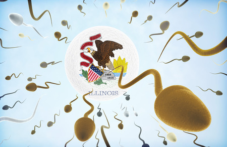 Emigration concept illustration: Sperms of different colors (for different races) swimming away from an egg cell with the flag of Illinois.