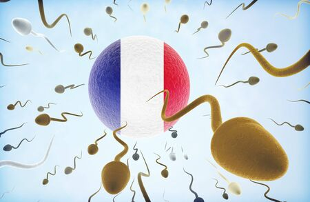 Emigration concept illustration: Sperms of different colors (for different races) swimming away from an egg cell with the flag of French Guiana. Stock Photo