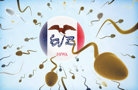 Emigration concept illustration: Sperms of different colors (for different races) swimming away from an egg cell with the flag of Iowa. Stock Photo