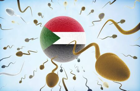 Emigration concept illustration: Sperms of different colors (for different races) swimming away from an egg cell with the flag of Sudan.