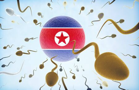 refugee: Emigration concept illustration: Sperms of different colors (for different races) swimming away from an egg cell with the flag of North Korea