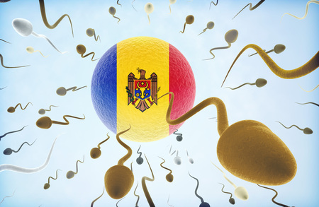 Emigration concept illustration: Sperms of different colors (for different races) swimming away from an egg cell with the flag of Moldova.