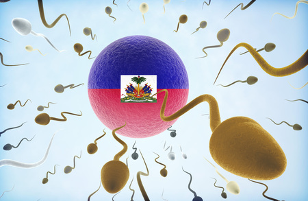 refugee: Emigration concept illustration: Sperms of different colors (for different races) swimming away from an egg cell with the flag of Haiti. Stock Photo
