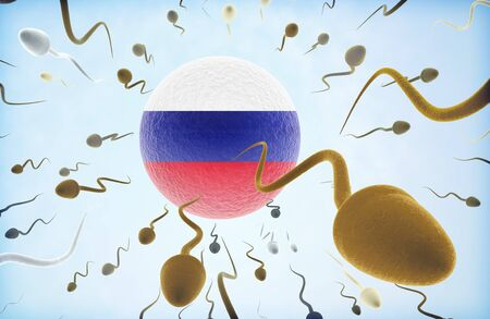 Emigration concept illustration: Sperms of different colors (for different races) swimming away from an egg cell with the flag of Russia.