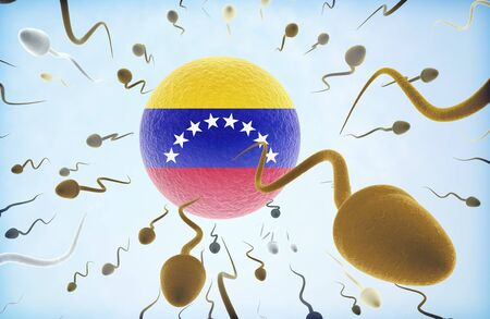 Emigration concept illustration: Sperms of different colors (for different races) swimming away from an egg cell with the flag of Venezuela.