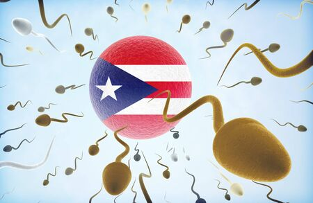 Emigration concept illustration: Sperms of different colors (for different races) swimming away from an egg cell with the flag of Puerto Rico.