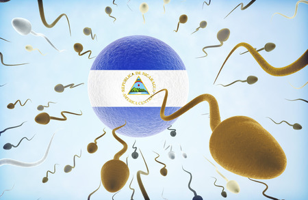 Emigration concept illustration: Sperms of different colors (for different races) swimming away from an egg cell with the flag of Nicaragua.