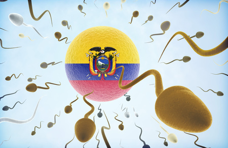 Emigration concept illustration: Sperms of different colors (for different races) swimming away from an egg cell with the flag of Ecuador.