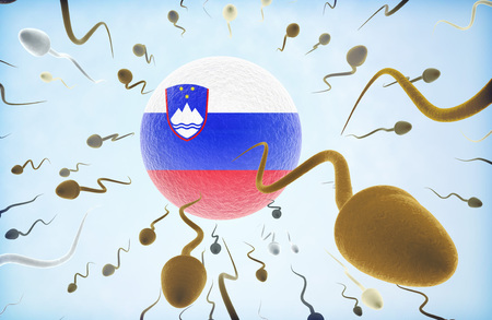 Emigration concept illustration: Sperms of different colors (for different races) swimming away from an egg cell with the flag of Slovenia.