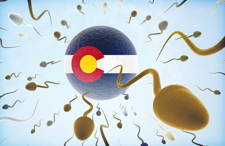 Emigration concept illustration: Sperms of different colors (for different races) swimming away from an egg cell with the flag of Colorado Stock Photo