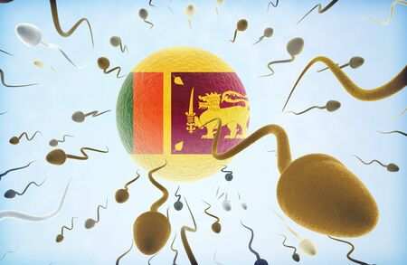 Emigration concept illustration: Sperms of different colors (for different races) swimming away from an egg cell with the flag of Sri Lanka.