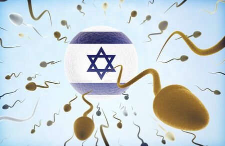 ovum: Emigration concept illustration: Sperms of different colors (for different races) swimming away from an egg cell with the flag of Israel.