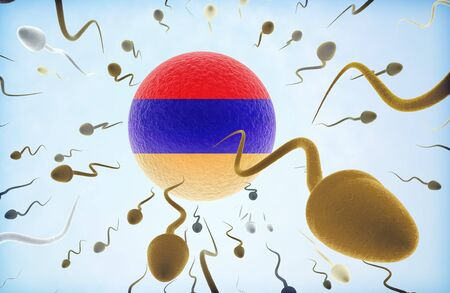 Emigration concept illustration: Sperms of different colors (for different races) swimming away from an egg cell with the flag of Armenia.