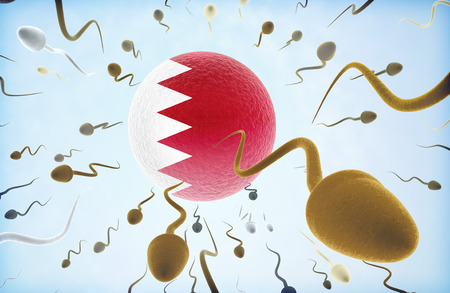 Emigration concept illustration: Sperms of different colors (for different races) swimming away from an egg cell with the flag of Bahrain.