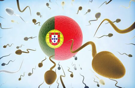 Emigration concept illustration: Sperms of different colors (for different races) swimming away from an egg cell with the flag of Portugal.