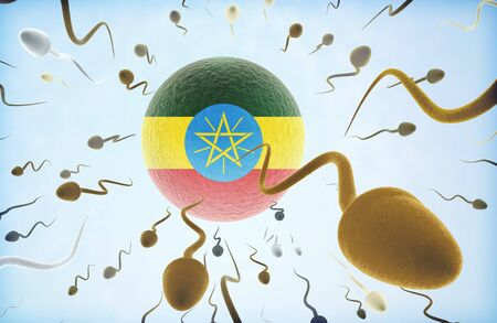 Emigration concept illustration: Sperms of different colors (for different races) swimming away from an egg cell with the flag of Ethiopia