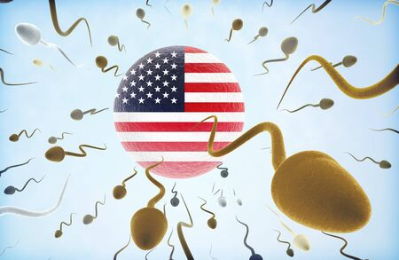 ovum: Emigration concept illustration: Sperms of different colors (for different races) swimming away from an egg cell with the flag of USA. Stock Photo