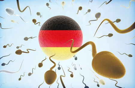 Emigration concept illustration: Sperms of different colors (for different races) swimming away from an egg cell with the flag of Germany.