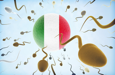 Emigration concept illustration: Sperms of different colors (for different races) swimming away from an egg cell with the flag of Italy.