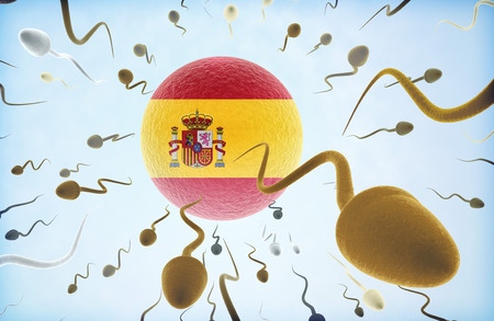 Emigration concept illustration: Sperms of different colors (for different races) swimming away from an egg cell with the flag of Spain. Stock Photo