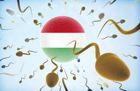 Emigration concept illustration: Sperms of different colors (for different races) swimming away from an egg cell with the flag of Hungary.