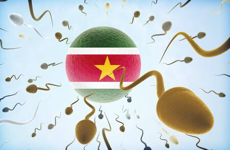 migrating cell: Emigration concept illustration: Sperms of different colors (for different races) swimming away from an egg cell with the flag of Suriname. Stock Photo