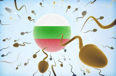 Emigration concept illustration: Sperms of different colors (for different races) swimming away from an egg cell with the flag of Bulgaria
