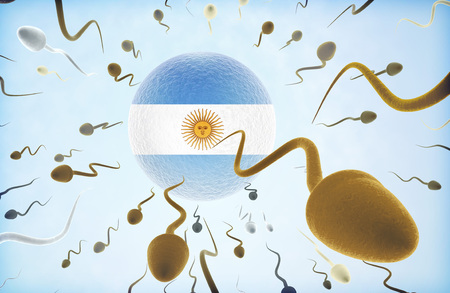 Emigration concept illustration: Sperms of different colors (for different races) swimming away from an egg cell with the flag of Argentina