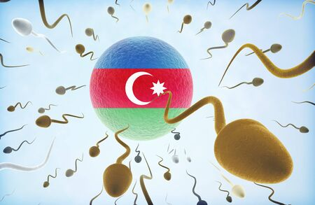 Emigration concept illustration: Sperms of different colors (for different races) swimming away from an egg cell with the flag of Azerbaijan.