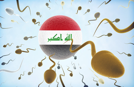 iraq: Emigration concept illustration: Sperms of different colors (for different races) swimming away from an egg cell with the flag of Iraq.