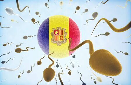 Emigration concept illustration: Sperms of different colors (for different races) swimming away from an egg cell with the flag of Andorra. Stock Photo