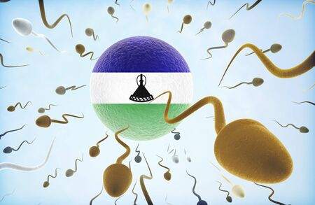 Emigration concept illustration: Sperms of different colors (for different races) swimming away from an egg cell with the flag of Lesotho.